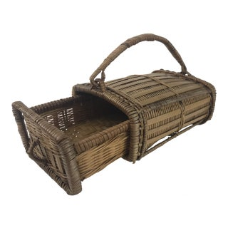 Handled Woven Drawer Basket For Sale