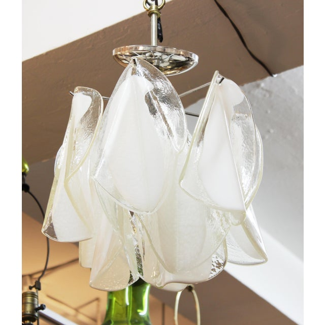 Metal Italian Modern Murano Glass Handkerchief Pendant For Sale - Image 7 of 8