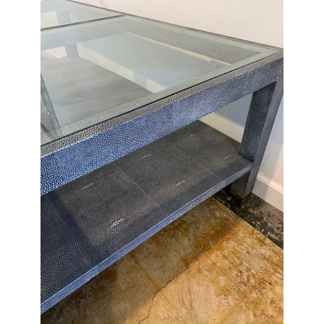 Coastal Made Goods Large Square Faux Shagreen Coffee Table For Sale - Image 3 of 8