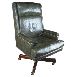 Vintage Green Leather Executive Office Desk Chair For Sale