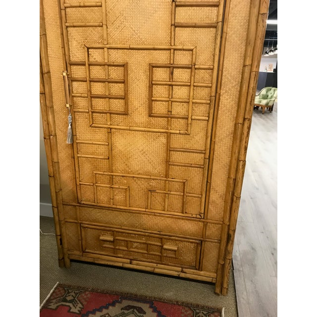 Vintage Rattan Bamboo Armoire Cabinet With Lucite And Brass Handle - Image 3 of 11