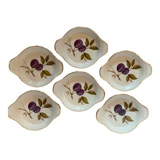 Vintage Royal Worcester 'Evesham' Porcelain Au Gratin Dishes - Set of 6 For Sale