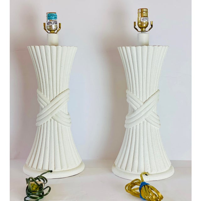 1970s Sculptural Plaster White Table Lamps - a Pair For Sale - Image 4 of 8