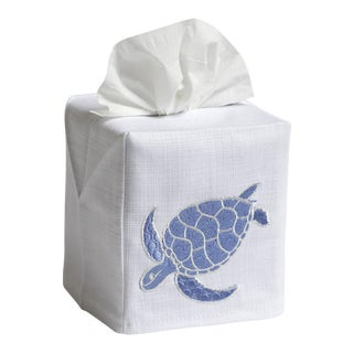 Blue Swimming Turtle Tissue Box Cover in White Linen & Cotton, Embroidered For Sale