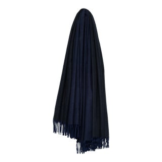 Arran Reversible Cashmere Throw, Navy Blue and Black For Sale