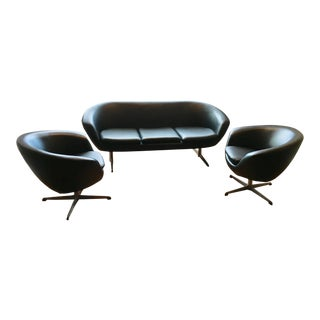 Mid-Century Modern Overman Ab Tranås Sweden Naugahyde Loveseat and Chairs - Set of 3 For Sale