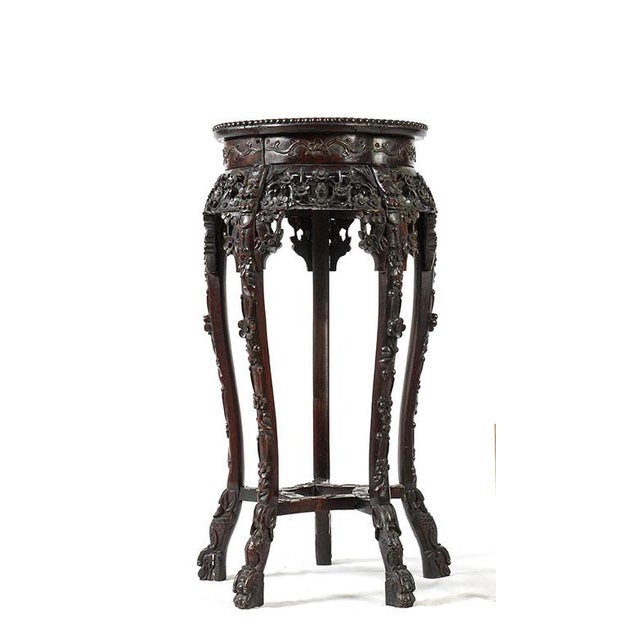 Ornate antique rosewood display stand, pedestal or table with inset marble top - intricately hand carved frame and pierced...