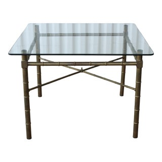 1960s Mastercraft Faux Bamboo Brass Dining Table For Sale