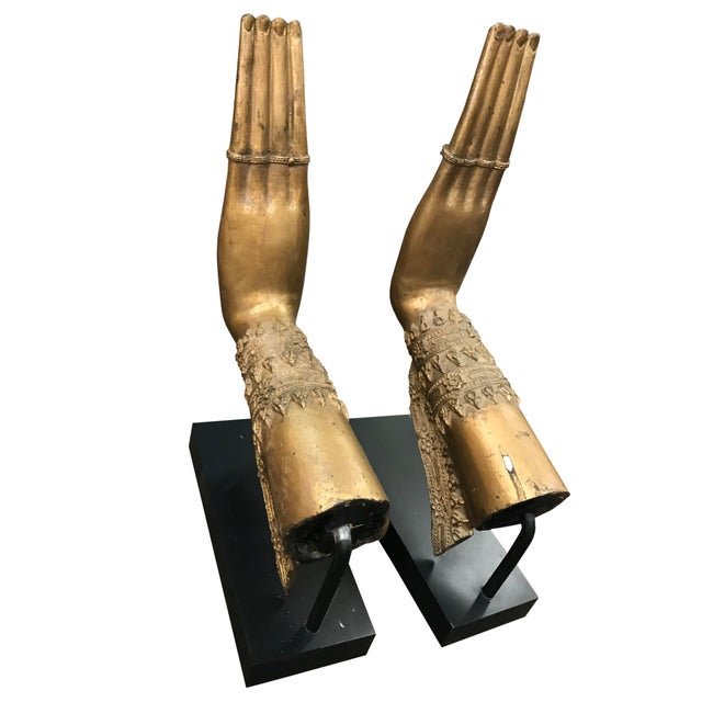 Contemporary Thai Hands Bronzed on Iron Stands - a Pair For Sale - Image 4 of 4