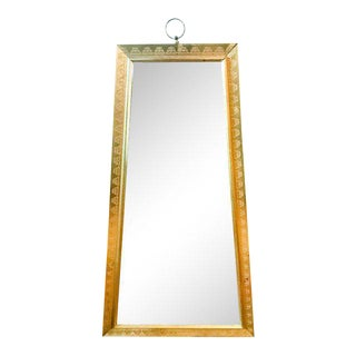 Mid Century Gilt Elongated Trapezoid Mirror, Signed
