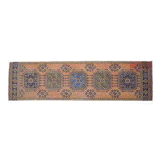 "Distressed Oushak Rug Runner - 2'11"" X 10'11"" For Sale"