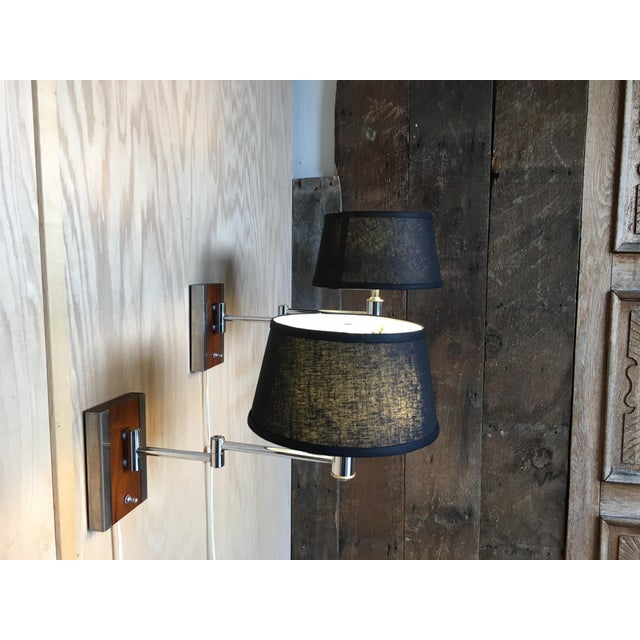 Mid-Century Modern Walnut and Chrome Articulated Sconces - a Pair For Sale - Image 9 of 13