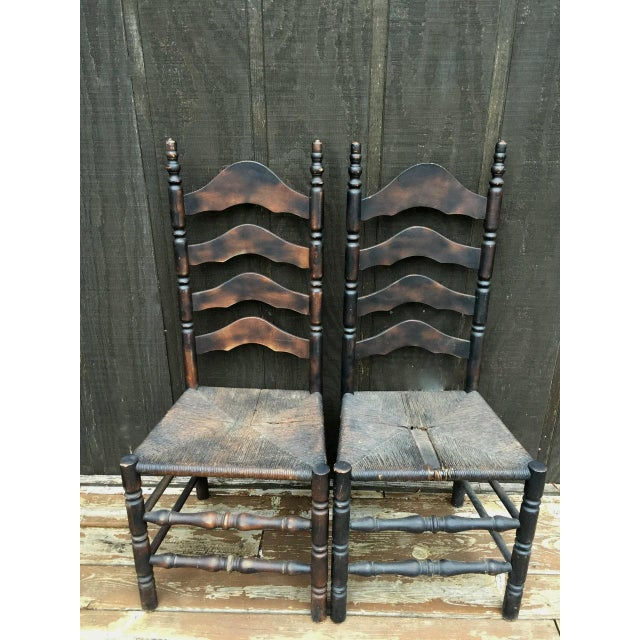 Cabin French Farmhouse Ladderback Chairs - Set of 4 For Sale - Image 3 of 11