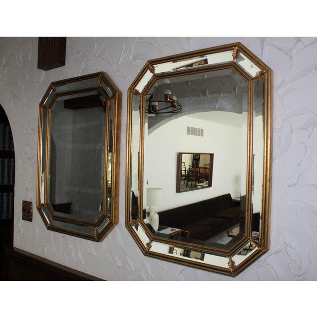 Mid-Century Modern 1950s Italian Gilt Octagonal Mirrors For Sale - Image 3 of 11