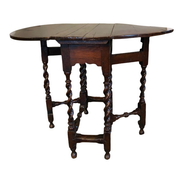 17th Century Circa 1680 English Barley Twist Gate Leg Table For Sale