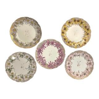 Vintage Haviland Hand Painted Floral Plates- Set of 5 For Sale