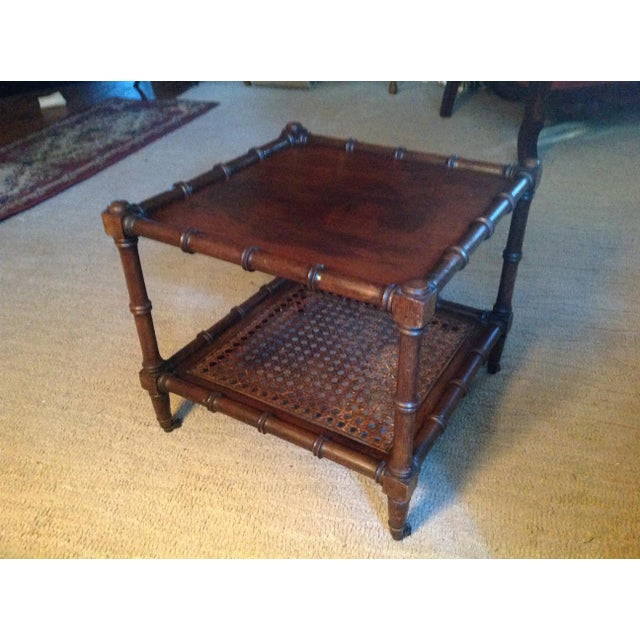 Mid 20th Century Faux Wood Bamboo Table For Sale - Image 10 of 11
