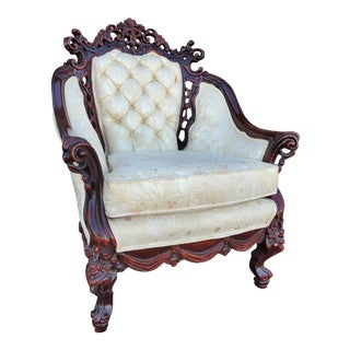 Vintage Baroque Victorian Carved Wood Ivory Floral Wingback Chair For Sale