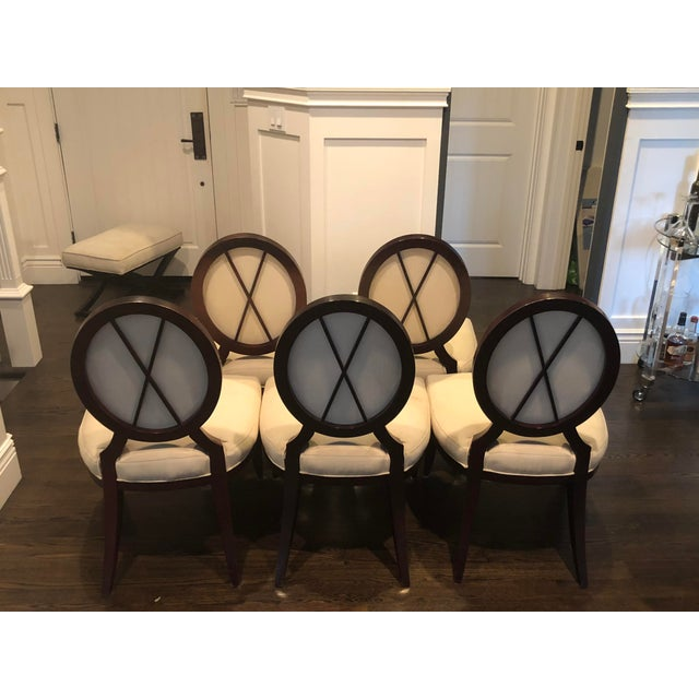 Barbara Barry for Baker Oval X-Back Dining Chairs - Set of 5 For Sale - Image 11 of 11