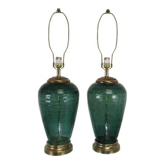 Vintage Light Green Crackle Glass and Brass Table Lamps by Alsy - a Pair For Sale