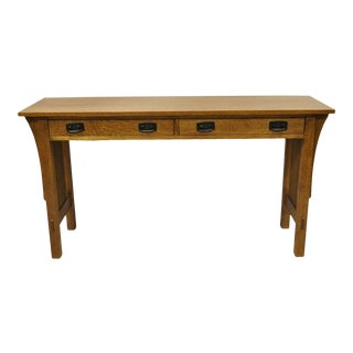 "L&jg Stickley Arts & Crafts Mission Oak 54"" Long Sofa Console Hall Table For Sale"