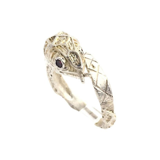 Etched Sterling & Garnet Snake Ring For Sale In Miami - Image 6 of 6