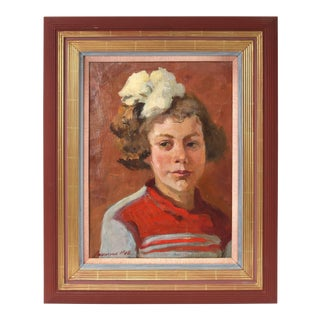 Ukrainian Oil Painting on Canvas Portrait of Daughter by Anna Akishina 1948 For Sale
