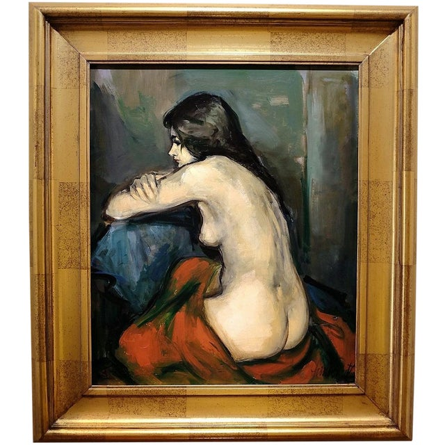 20th Century Figurative Nude Portrait Oil on Canvas by Jan De Ruth For Sale