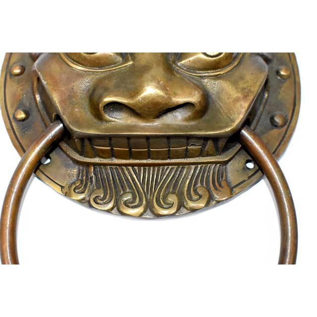 Late 20th Century Beast Motif Brass Knockers- a Pair For Sale - Image 4 of 13