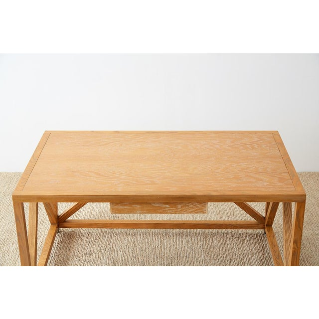 Mid-Century Modern Mid-Century Modern Oak Architectural Writing Table Desk For Sale - Image 3 of 13