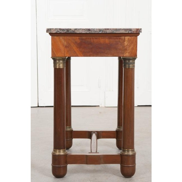 Metal Early 20th Century French Empire Mahogany Marble Top Table For Sale - Image 7 of 13