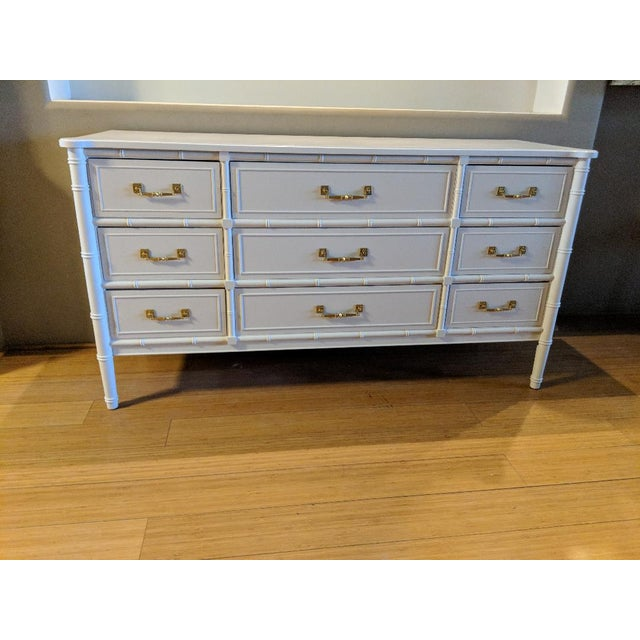 Gold 1970s Chinoiserie Henry Link Faux Bamboo High Gloss White Nine Drawer Dresser For Sale - Image 8 of 8