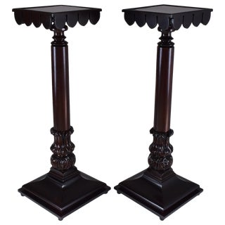 Pair of 19th Century Italian Antique Tall Mahogany Pedestals Columns For Sale