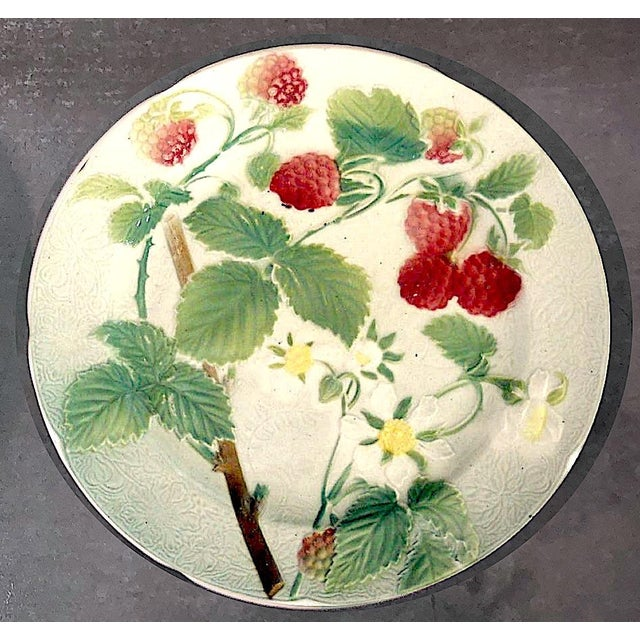 Keller & Guérin St. Clement French Faience Majolica Fruit Plates - Set of 6 For Sale - Image 4 of 10