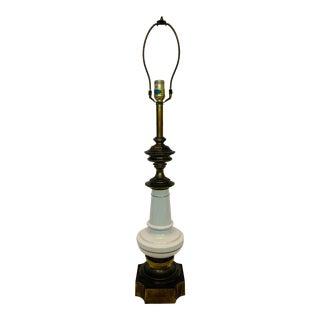 Vintage Stiffel Brass & Porcelain Lamp For Sale