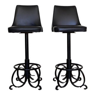 1960's Mid-Century Hollywood Regency Bar Stools - a Pair For Sale