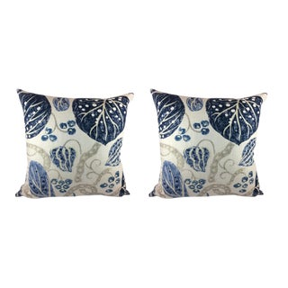 "William Yeoward ""Astasia"" in Navy Ikat Block Print Floral Pillows - a Pair"