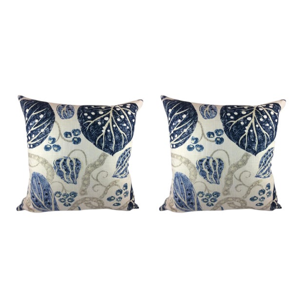 "William Yeoward ""Astasia"" in Navy Ikat Block Print Floral Pillows - a Pair For Sale"