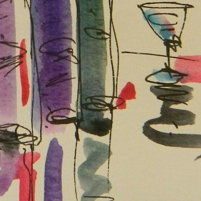"""Contemporary Jose Trujillo Original Watercolor Painting of Small Wine Bar - 3x6"""" For Sale - Image 3 of 4"""