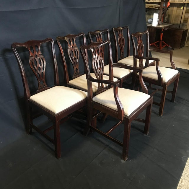 19th Century Antique English Mahogany Chippendale Style Dining Chairs-Set of 6 For Sale - Image 12 of 13