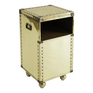 Sarreid Petit Brass-Clad Side Table on Casters For Sale
