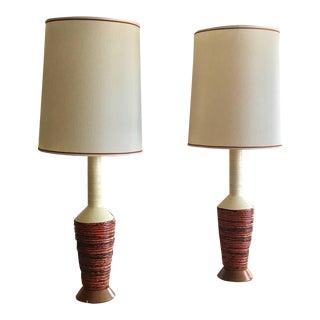 Pair of Large Scale Marcello Fantoni Ceramic Lamps