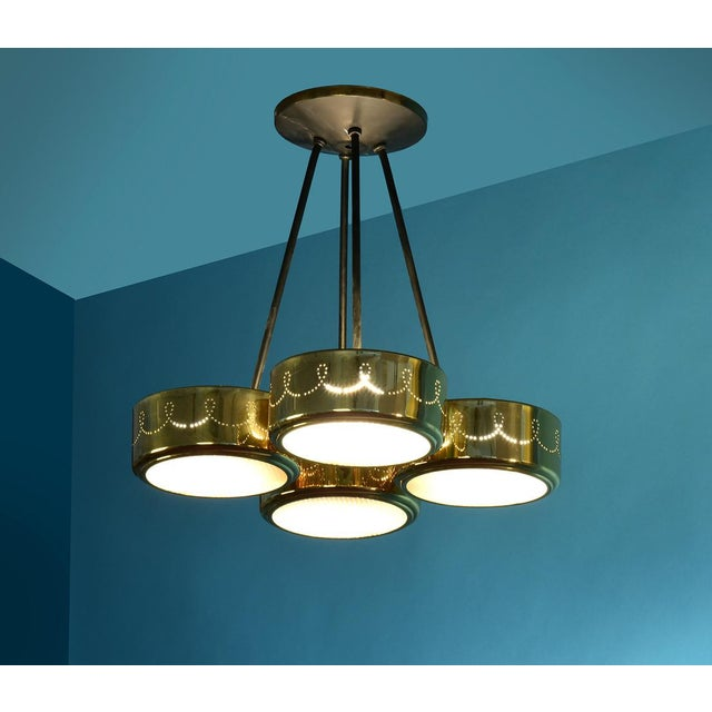 Gold Gerald Thurston for Lightolier Four Shade Chandelier, Circa 1950's For Sale - Image 8 of 9