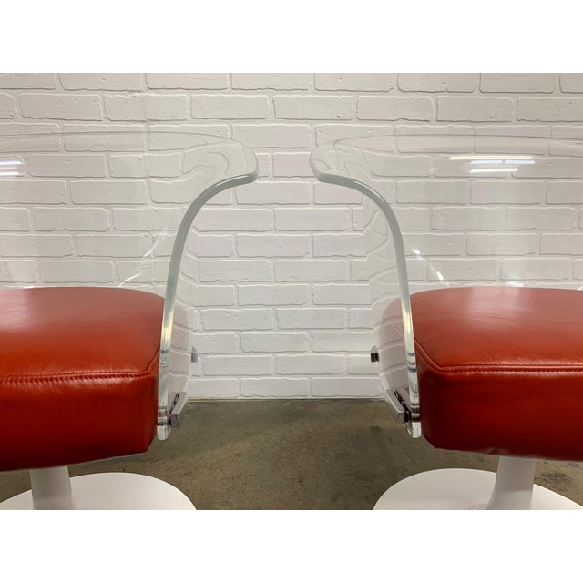 Lucite and Leather Space Age Chairs For Sale - Image 10 of 12