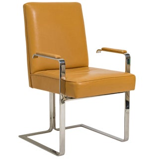 1970s Vintage Vladimir Kagan Chrome and Leather Chair For Sale
