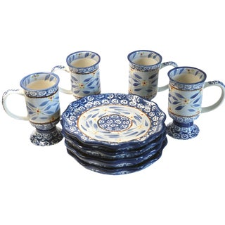 Floral Cups and Dessert Plates - 8 Pieces For Sale