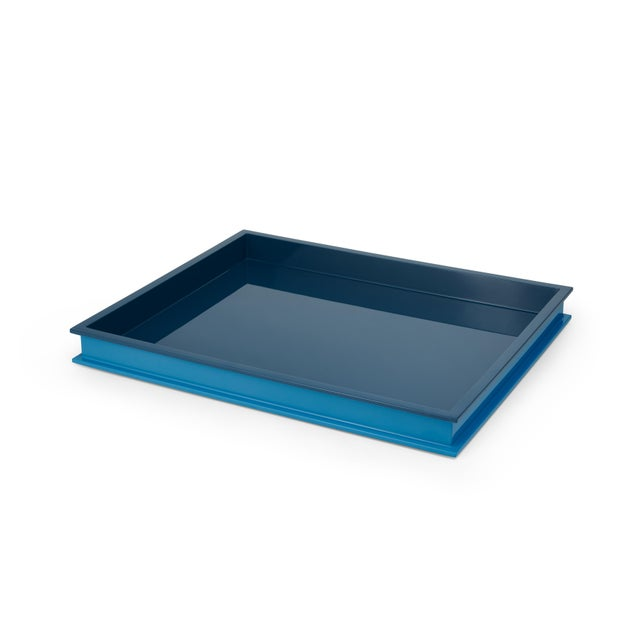 Contemporary Large Rectangular Tray in Teal / Horizon Blue - Jeffrey Bilhuber for The Lacquer Company For Sale - Image 3 of 3
