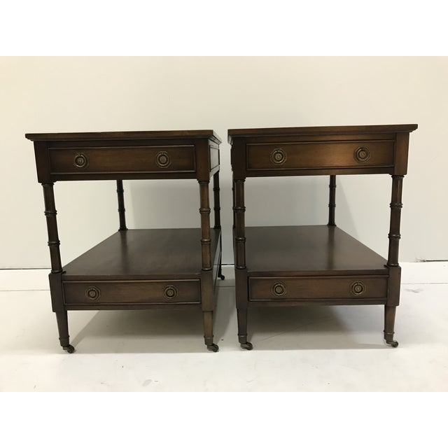 Hekman Walnut Side Tables - Pair For Sale - Image 13 of 13