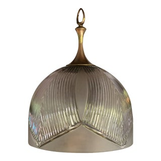 Mid-Century Hollywood Regency Glass Shade Pendant Light Fixture Chandelier For Sale