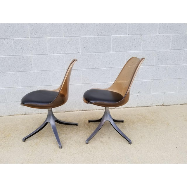 Metal Mid Century Chromcraft Brown Lucite Side Chairs- a Pair For Sale - Image 7 of 8